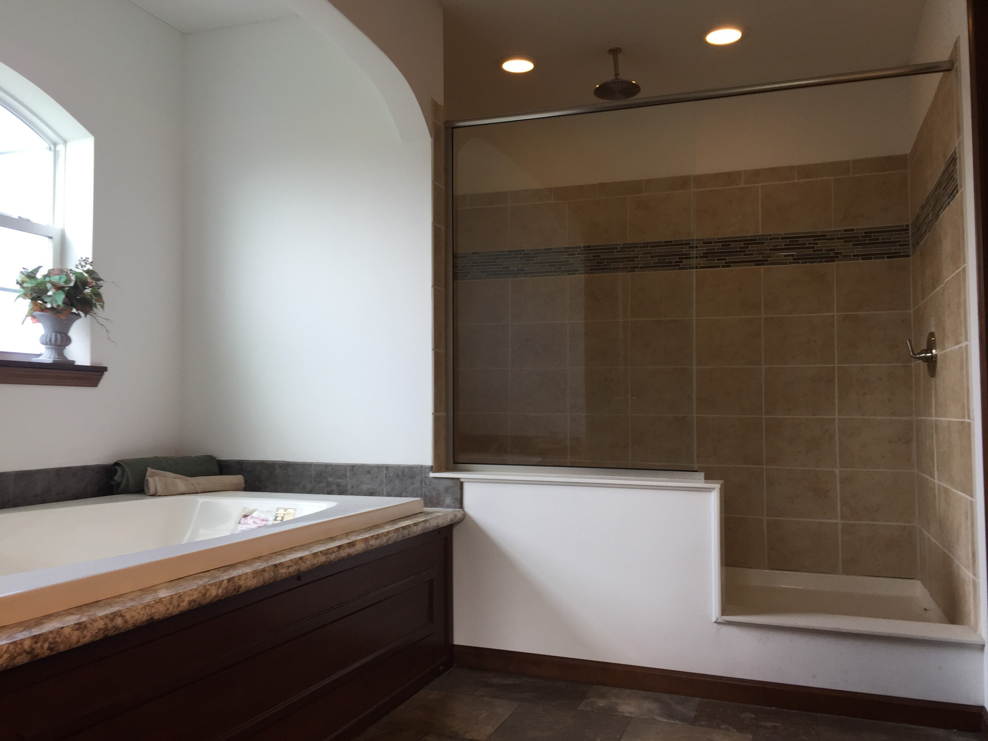 Lionel large tub and large walk-in shower - D&W Homes