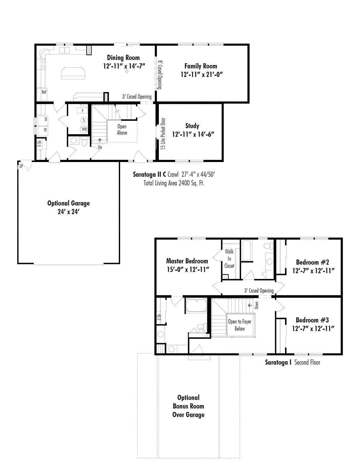 The saratoga ii c d w homes for Saratoga homes floor plans